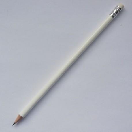Круглый карандаш Премиум с ластиком, корпус белый глянцевый