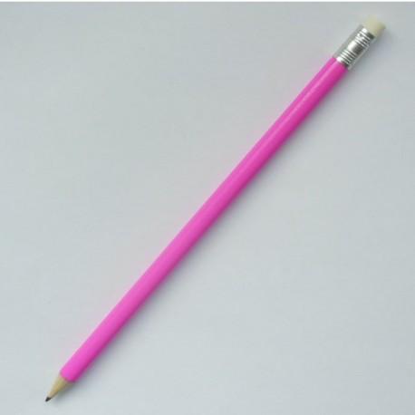 Круглый карандаш Стандарт с ластиком, корпус розовый
