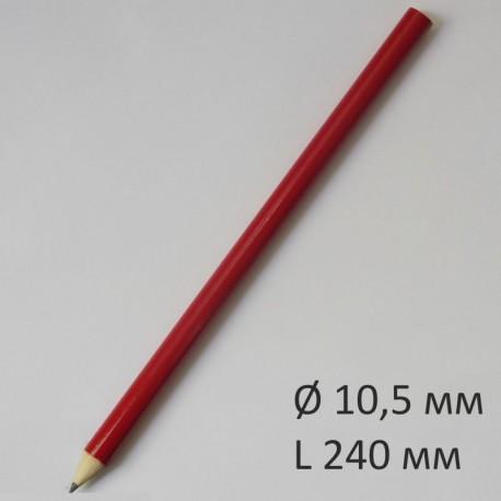 Больший круглый карандаш Премиум, 240 мм, корпус красный