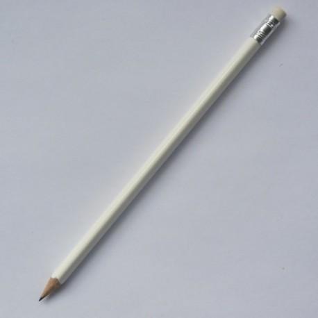 Трехгранный карандаш Премиум с ластиком, белый глянцевый